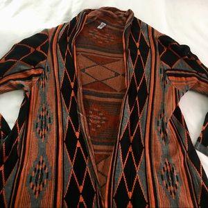 Sweaters - Orange Tribal Print Cardigan